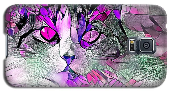 Abstract Calico Cat Purple Glass Galaxy S5 Case