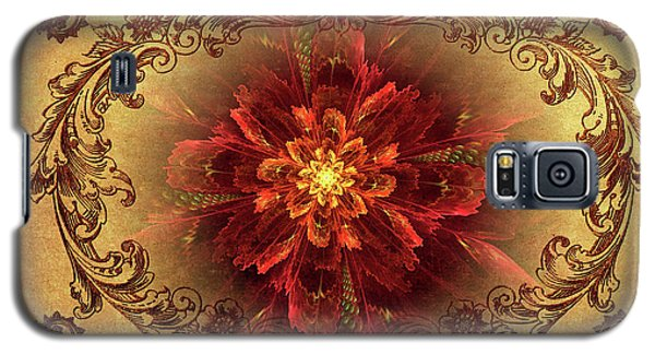 Antique Foral Filigree In Crimson And Gold Galaxy S5 Case