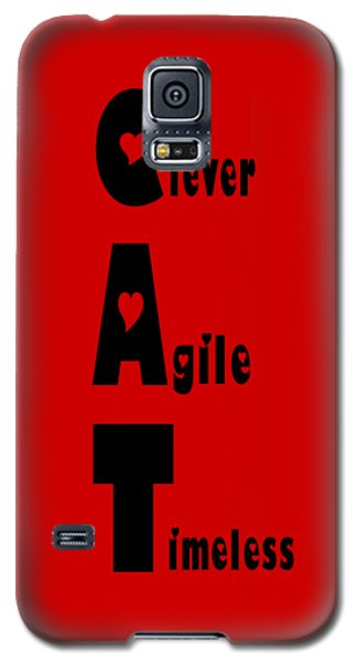 Cat With Black Words Galaxy S5 Case