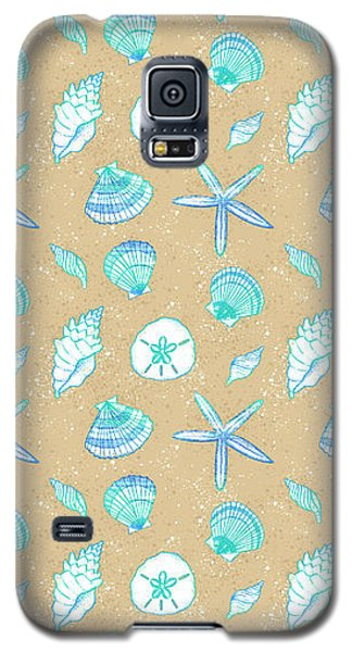 Vibrant Seashell Pattern Tan Sand Background Galaxy S5 Case