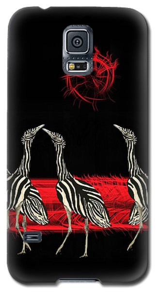Zebra Australian Bustards Red Sun Galaxy S5 Case