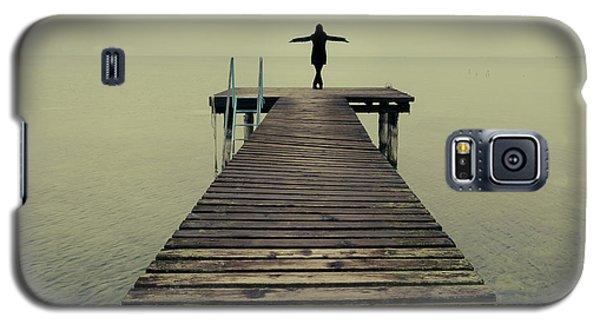 Ballerina Pose At Idyllic Lake At Winter Galaxy S5 Case