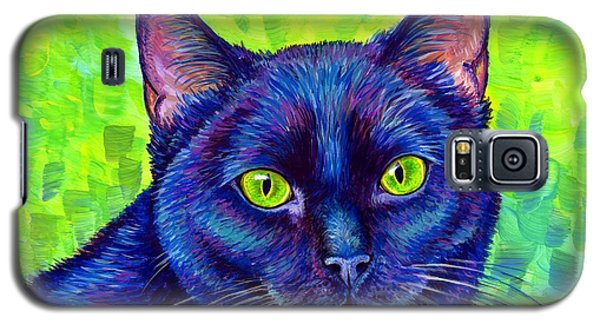Black Cat With Chartreuse Eyes Galaxy S5 Case
