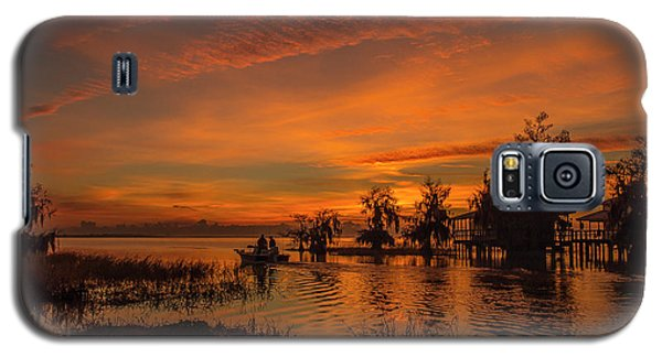 Blue Cypress Sunrise With Boat Galaxy S5 Case