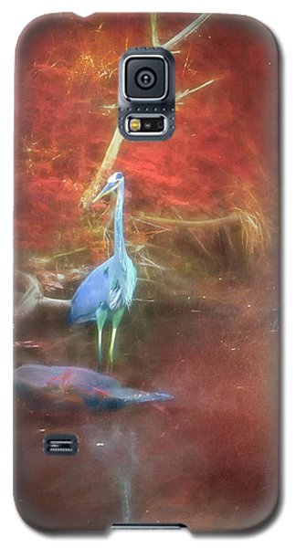 Blue Heron Red Background Galaxy S5 Case