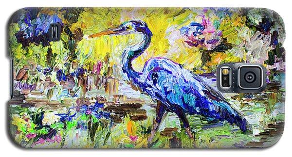 Blue Heron Wetland Magic Palette Knife Oil Painting Galaxy S5 Case