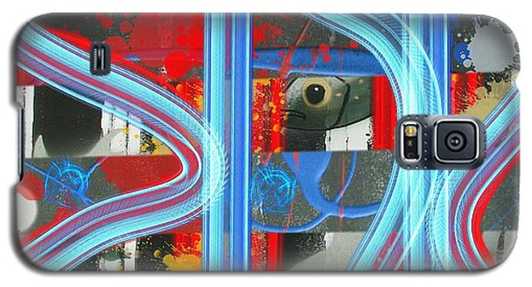 Blue Meet Red Black And White Fish Galaxy S5 Case