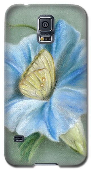 Blue Morning Glory With Yellow Butterfly Galaxy S5 Case