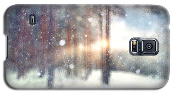 Branch Galaxy S5 Case - Blurred Background Forest Snow Winter by Kichigin