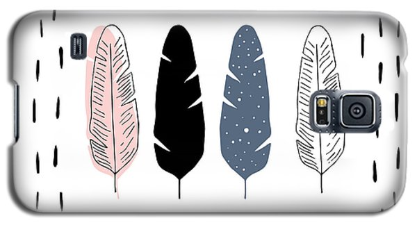Boho Feathers - Boho Chic Ethnic Nursery Art Poster Print Galaxy S5 Case