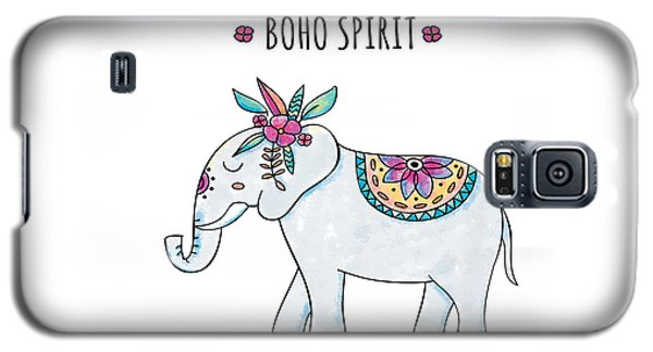 Boho Spirit Elephant - Boho Chic Ethnic Nursery Art Poster Print Galaxy S5 Case