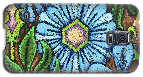Brown And Blue Floral 1 Galaxy S5 Case
