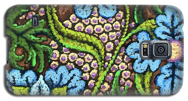 Brown And Blue Floral 2 Galaxy S5 Case
