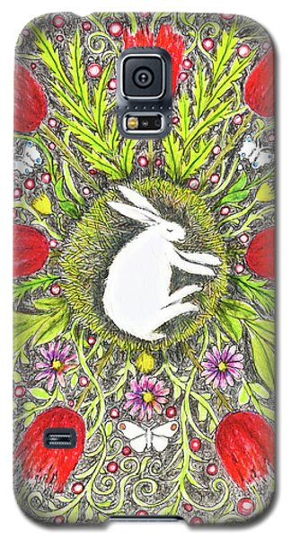 Bunny Nest With Red Flowers And White Butterflies Galaxy S5 Case