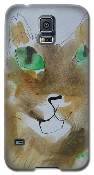Cat Face Yellow Brown With Green Eyes Galaxy S5 Case