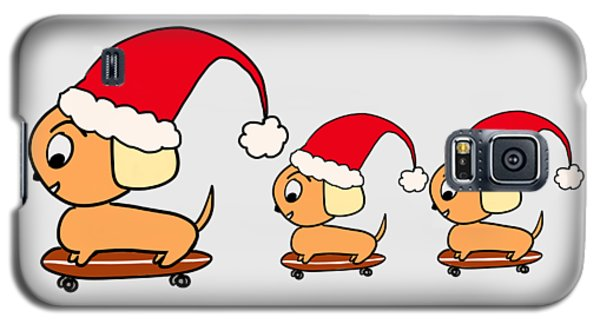 Christmas Dogs On Skateboards Galaxy S5 Case