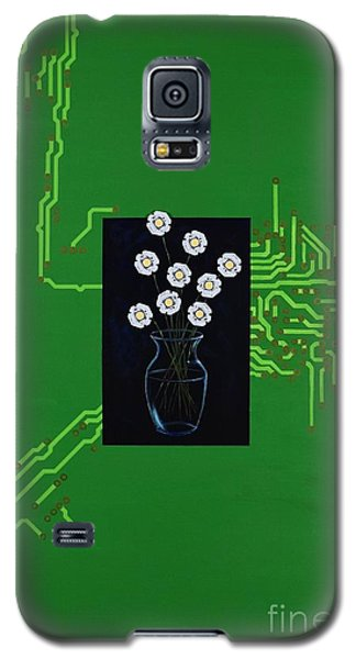 Galaxy S5 Case featuring the painting Circuit Board Bouquet by Mary Scott