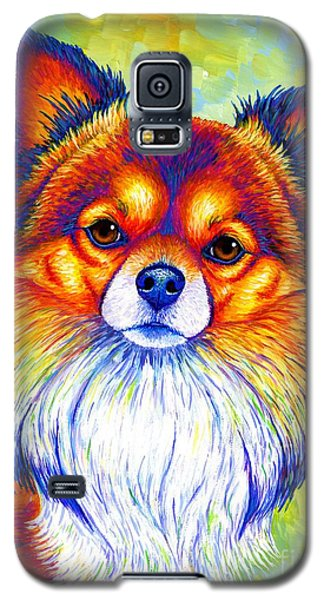 Colorful Long Haired Chihuahua Dog Galaxy S5 Case