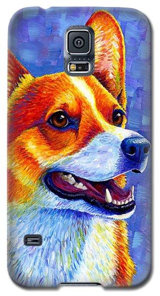 Colorful Pembroke Welsh Corgi Dog Galaxy S5 Case