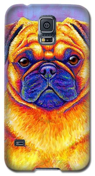 Colorful Rainbow Pug Dog Portrait Galaxy S5 Case