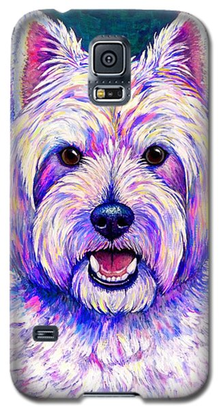 Colorful West Highland White Terrier Blue Background Galaxy S5 Case