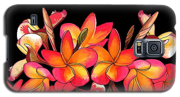 Coloured Frangipani Black Bkgd Galaxy S5 Case