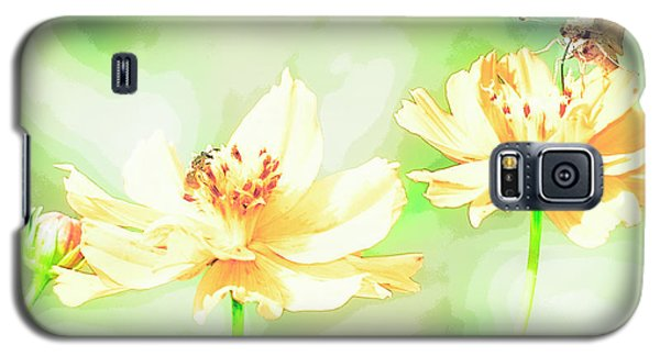 Cosmos Flowers, Bud, Butterfly, Digital Painting Galaxy S5 Case