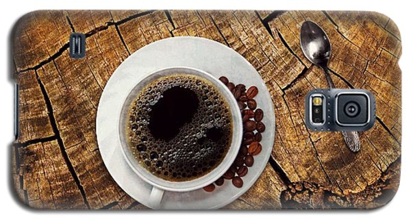 Cup Of Coffe On Wood Galaxy S5 Case