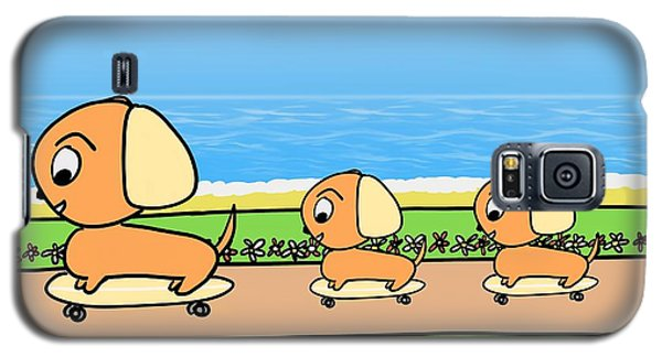 Cute Cartoon Dogs On Skateboards By The Beach Galaxy S5 Case