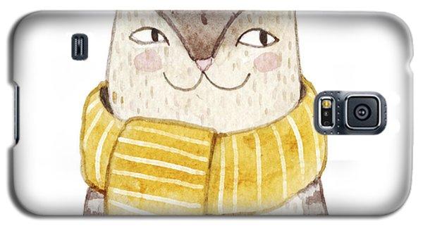 Card Galaxy S5 Case - Cute Cat In Scarf . Watercolor by Maria Sem