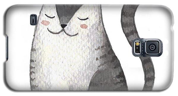 Card Galaxy S5 Case - Cute Gray Cat. Watercolor Kids by Maria Sem