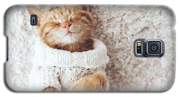 Cold Galaxy S5 Case - Cute Little Ginger Kitten Wearing Warm by Alena Ozerova