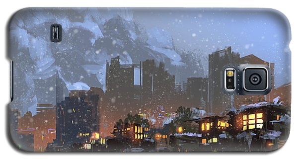 Cold Galaxy S5 Case - Digital Painting Of Winter City At by Tithi Luadthong