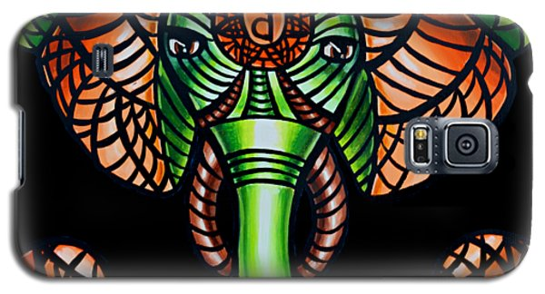 Zentangle Elephant Head Art Painting, Sacral Chakra Art, African Animal Tribal Artwork Galaxy S5 Case