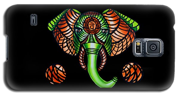 Elephant Head Painting, Sacral Chakra Art, African Tribal Animal Artwork, Zentangle Art Galaxy S5 Case