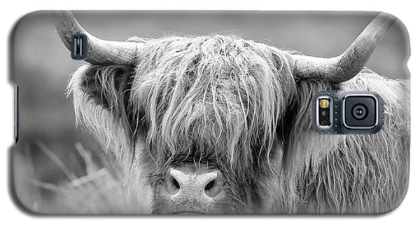 Face-to-face With A Highland Cow - Monochrome Galaxy S5 Case