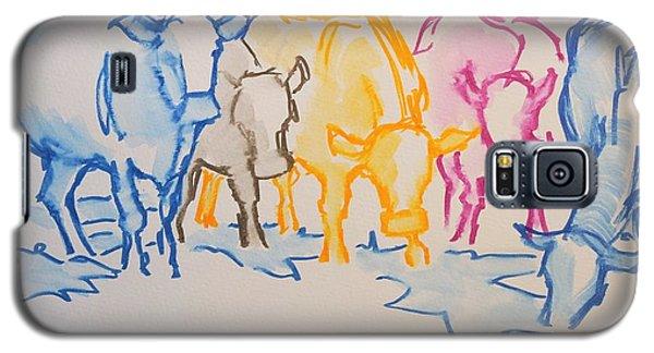 Five Cows Five Colors Watercolor Line Drawing Galaxy S5 Case