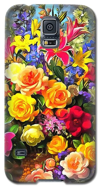Galaxy S5 Case featuring the digital art Floral Bouquet In Acrylic by Catherine Lott