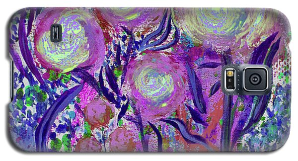 Galaxy S5 Case featuring the painting Four Pink Flowers In Blue by Corinne Carroll