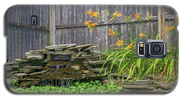 Garden Pond With Orange Day Lilies Galaxy S5 Case