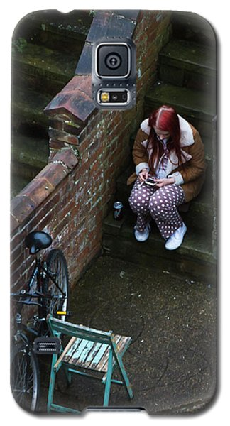 Girl On A Phone Galaxy S5 Case