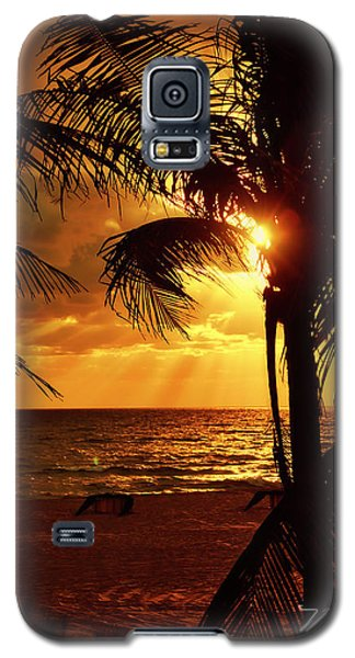 Golden Palm Sunrise Galaxy S5 Case