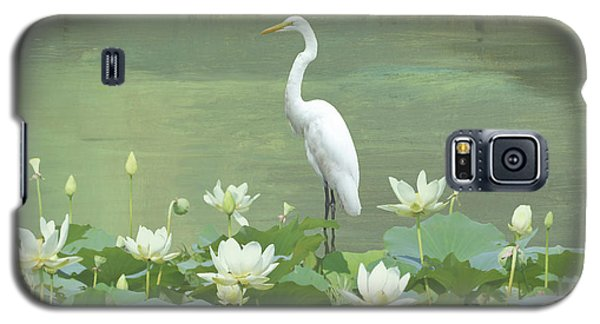 Great Egret And Lotus Flowers Galaxy S5 Case