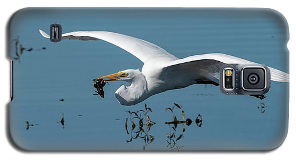 Great Egret Flying With Fish Galaxy S5 Case