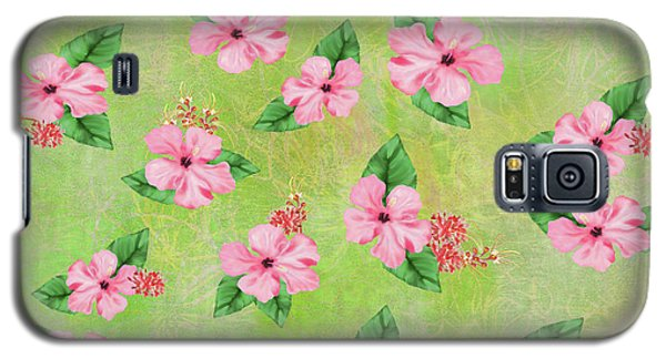Green Batik Tropical Multi-foral Print Galaxy S5 Case