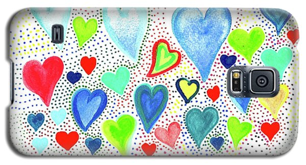 Galaxy S5 Case featuring the painting Hearts 1002 by Corinne Carroll
