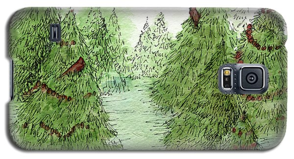 Holiday Trees Woodland Landscape Illustration Galaxy S5 Case
