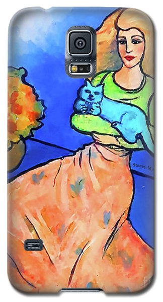 Lady With Blue Cat Galaxy S5 Case
