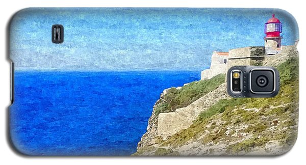 Lighthouse On Top Of A Cliff Overlooking The Blue Ocean On A Sunny Day, Painted In Oil On Canvas. Galaxy S5 Case