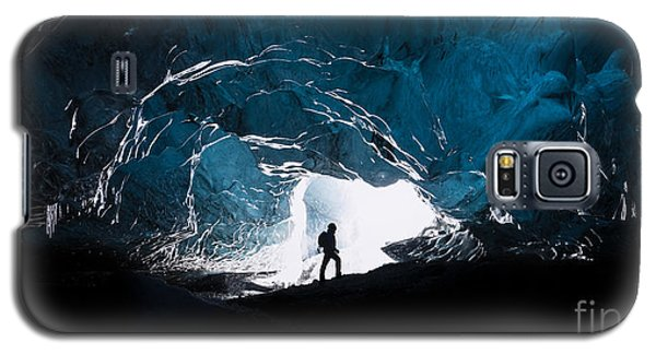 Icy Galaxy S5 Case - Man Exploring An Amazing Glacial Cave by J. Helgason